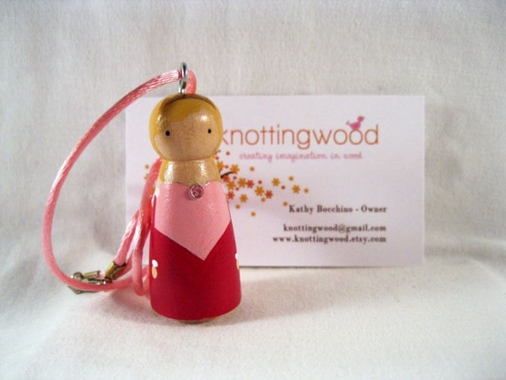 Sleeping Beauty Hand Painted Wood Peg Doll Pendant By