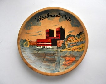 Hand Painted Wooden Dish from Oslo Norway Radhuset Plate Tray Vintage Artwork Factories Landscape