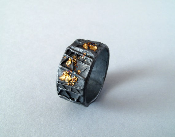 For Men Gold And Silver Texture Ring Oxidized Silver With 18kt Gold Powder Us Size 13.5