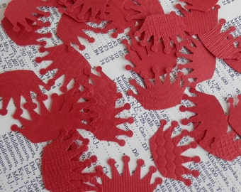 50 upcycled texture red paper crowns