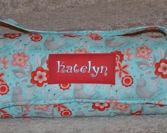 Nap Mat - Monogrammed Flirt in Turquoise Nap Mat with Red Minky Dot Blanket