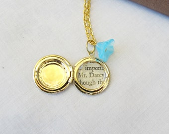 Pride and Prejudice Locket Necklace Mr Darcy Jane Austen Aqua Blue Flower. Upcycled Classics Aquamarine Jewelry. Jewellery Bridal Teens