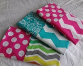 Travel Size Pillow Case -- Pink Chevron OR Turquoise Chevron OR Multicolored Chevron Pillow Case