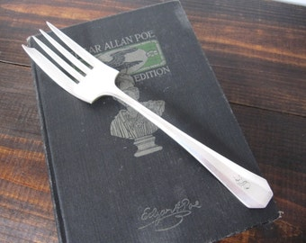 Antique S Monogrammed Cold Meat Serving Fork, Dartmouth 1940 by R. Wallace Silverplate Serving Flatware Fork