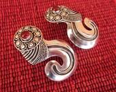 Balinese Sterling Silver stud Earrings / Carnelian / 1.6 inch / silver 925 / Bali handmade jewelry