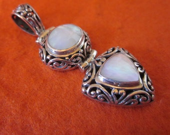 Balinese Sterling Silver mother of pearl  Pendant / silver 925 / Bali handmade jewelry / 1.75 inch long