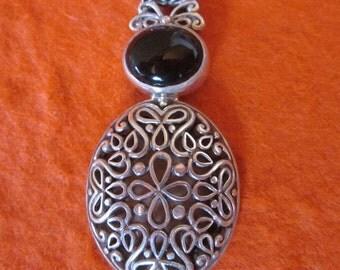 Balinese sterling Silver Onyx Pendant / silver 925 / Bali handmade jewelry / 1.85 inch long