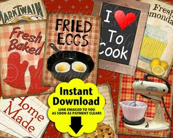 Vintage Kitchen Printable Hang Tags / Cook / Cooking / Baking Recipe Food Spoon - Gift Tags, Download  and Print Digital Collage Sheet