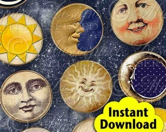 Moon, Sun and Stars / Tags / Labels - Printable INSTANT DOWNLOAD 2 Inch Round Designs Digital JPG Collage Sheet