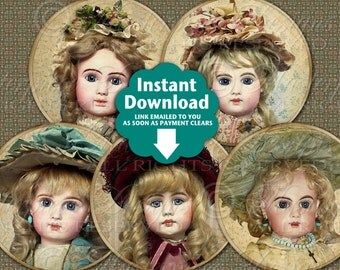 Beautiful Dolls / Antique Dolls - Printable INSTANT DOWNLOAD 2.5 Inch Round Designs Digital JPG Collage Sheet