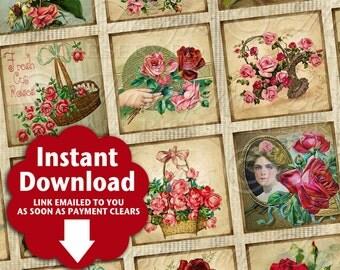Antique Roses / Flowers / Garden / Vintage Designs - Printable INSTANT DOWNLOAD 1x1 Inch Square Tiles Digital JPG Collage Sheet