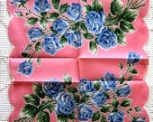Handkerchief Hankie Vintage Flower Print Bright Colorful EXCEPTIONAL QUALITY with Label NEW