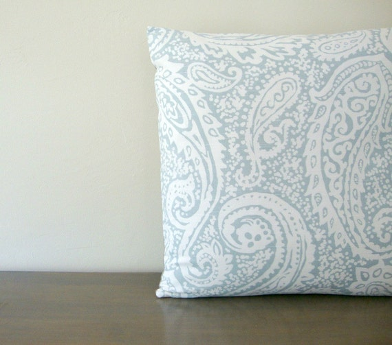 Light Blue and White Paisley Print Cotton and Natural Linen Pillow Cover 20x20 (51 cm)