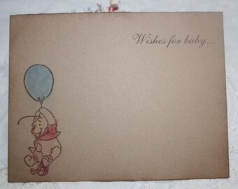 Baby Shower Wish Cards - Classic Pooh - Pooh with Blue Balloon - Baby Boy - Set of 12