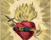 """Vintage Sacred Heart Print """"The Immaculate Heart of Mary"""" Cathlic Surreal Antique Gothic Religious Illustration"""