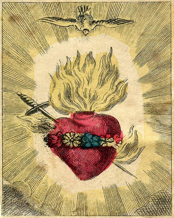 "Vintage Sacred Heart Print ""The Immaculate Heart of Mary"" Cathlic Surreal Antique Gothic Religious Illustration"
