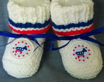 Handmade knit Democrat donkey baby Patriotic  Booties 4th of July -Election day 0-12M -Also have Republican Elephant Booties Ready To Ship