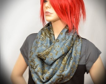 Infinity scarf - Jeans with Gold Paisley scarf - Free US Shipping