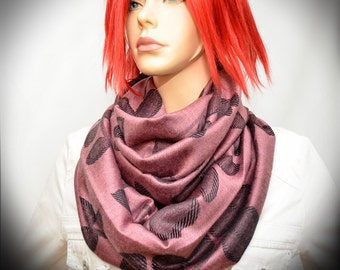 Pale Pink color Pashmina Infinity scarf with Black leaves - loop scarf
