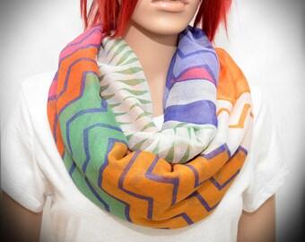 Chevron Scarf - Infinity Scarf Multicolored zig zag pattern - loop scarf