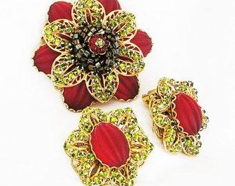 Stanley Hagler Ian St Gielar Red and Green Glass Brooch Earring Set