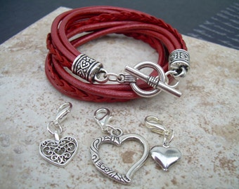 Womens Leather Bracelet, Five Strand, Double Wrap, Metallic Red with Three heart Charms, Womens Bracelet, Womens Jewelry