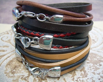 Stainless Steel and Leather Wrap Bracelet, Mens Jewelry, Mens Bracelet, Leather Bracelet, Womens Bracelet,