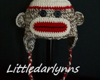 Sock Monkey Hat Beanie Earflaps Braids Girl Boy size Newborn Baby Toddler Teen Adult Photo Prop