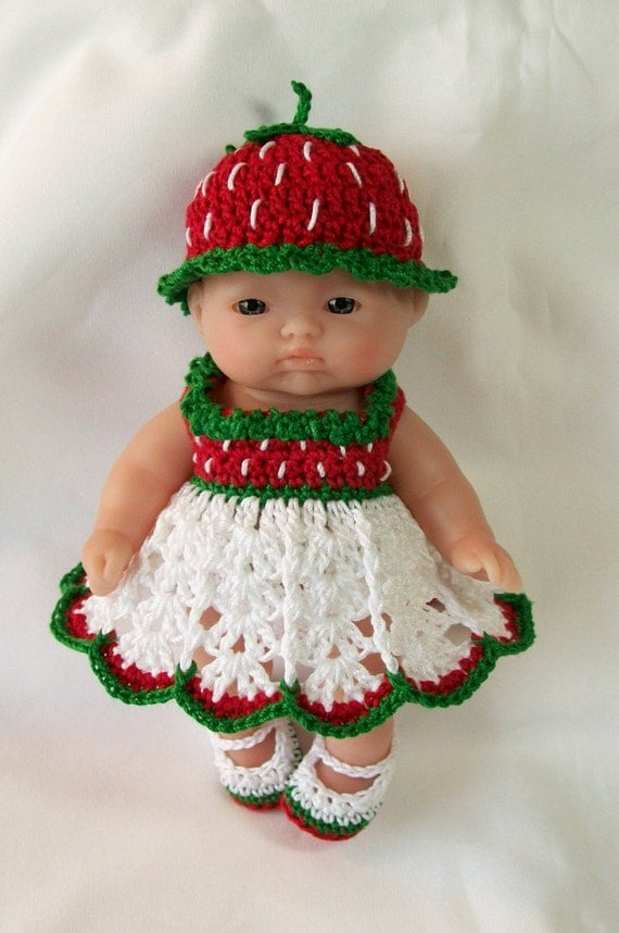 Crocheting Doll Clothes : ... Doll Clothes Clothing - 5 inch Berenguer Doll Outfit - Strawberry Doll
