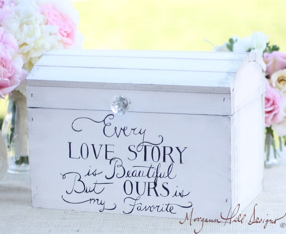 Wedding card box shabby chic decor vintage by braggingbags for Wedding mailbox decorating ideas