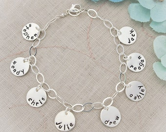 Mother or Grandmother Charm Bracelet Hand Stamped and Personalized