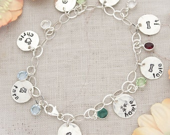 Grandmother or Mother Charm Bracelet Hand Stamped, Personalized with Names and Birthstones