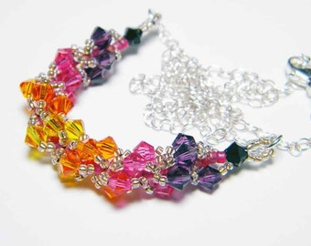 Custom Color Three Piece Whimsy Beading Beadweaving Jewelry Set Necklace Bracelet Earrings