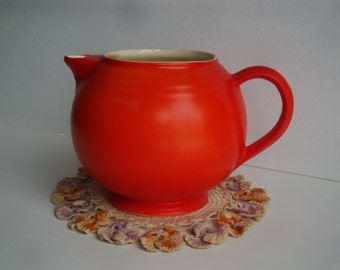 Large Tangerine Vintage Pitcher - Plump and Cute