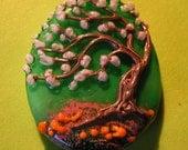 Wild Plum Tree--Lampwork focal bead--Signed