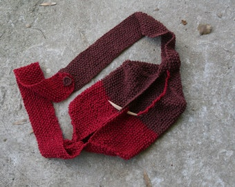 HipBag---Cherry-Choco& chocolate-brown-Cotton--wooden pin at the end of a knitted strap, which is used to close the bag Gift under 50 usd