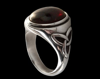 925 Solid Sterling Silver Pagan Triquetra Ring with Red Garnet -  -  ALL SIZES