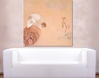Abstract Original Painting oil canvas 36x35 pink, english red white monkeys baby horse, modern wall art By Ana Gonzalez