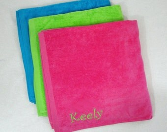 Premium Terry Velour Beach Towel With Custom Personalization Included-Hot Pink, Aqua Blue or Lime Green