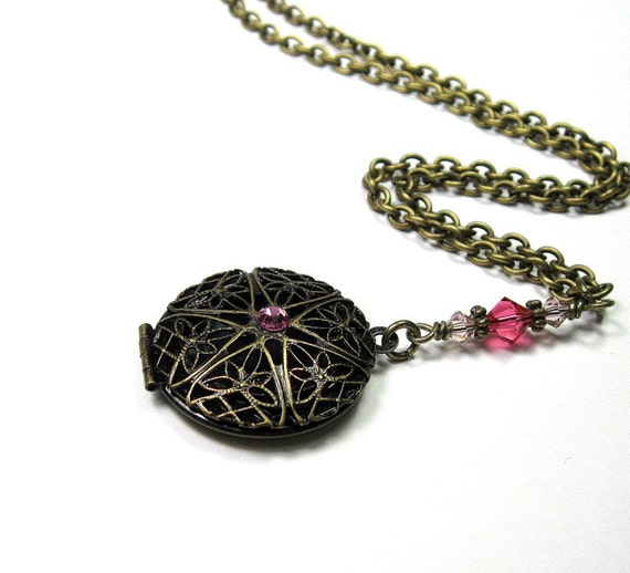 Vintage Style Pink Necklace, Swarovski Jewelry, Pendant, Antiqued Brass, Filigree Locket, Romantic, Womens Accessories, Gifts for Her