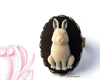 Bunny Cameo Ring - Rabbit Ring - Novelty Ring - Some Bunny Loves You!