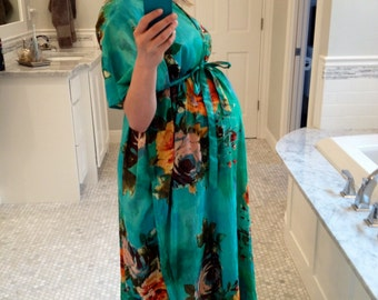 Hospital Gown Only Front Buttoned Delivery Kaftan - Aqua - Perfect as labor, delivery gown, nursing gown, Baby shower, Maternity photo props