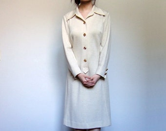 70s Ivory Beige Dress Collared Long Sleeve Casual Winter Dress Woman - Large L