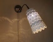LACE SCONCE LAMP - Stainless Steel Hanging Wall Sconce with an Upcycled White Metal Mesh Lace Planter Pot - BootsNGus Lighting