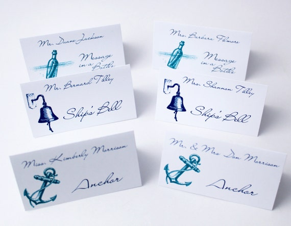 Items similar to beach wedding place cards wedding table for Table place cards