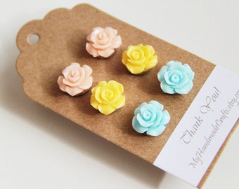 3 Pairs-Peach. Sunshine Yellow. Light Blue. Acrylic Resin Rose Ear Studs Post. Weddings. Spring. Light . Floral (Set 2)