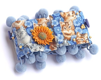 Embroidered Cat Cuff Pompoms Buttons French Knots Denim Blue Orange Rust Hand Painted Sunflower Button OOAK Conversation Statement Piece