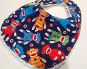 Sock Monkey Bib - Infant or Toddler Bib - ADJUSTABLE snaps - REVERSIBLE