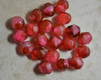 Cranberry Pearl faceted Czech glass 6mm faceted beads (25) Item 1405
