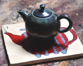 Ceramic Tile. SALE. Teapot Tile.  Wall Decor.  Wall Hanging Kitchen Art. Red Teapot Decor Plaque. Wall Tile. Trivet. Hot Pot Holder.